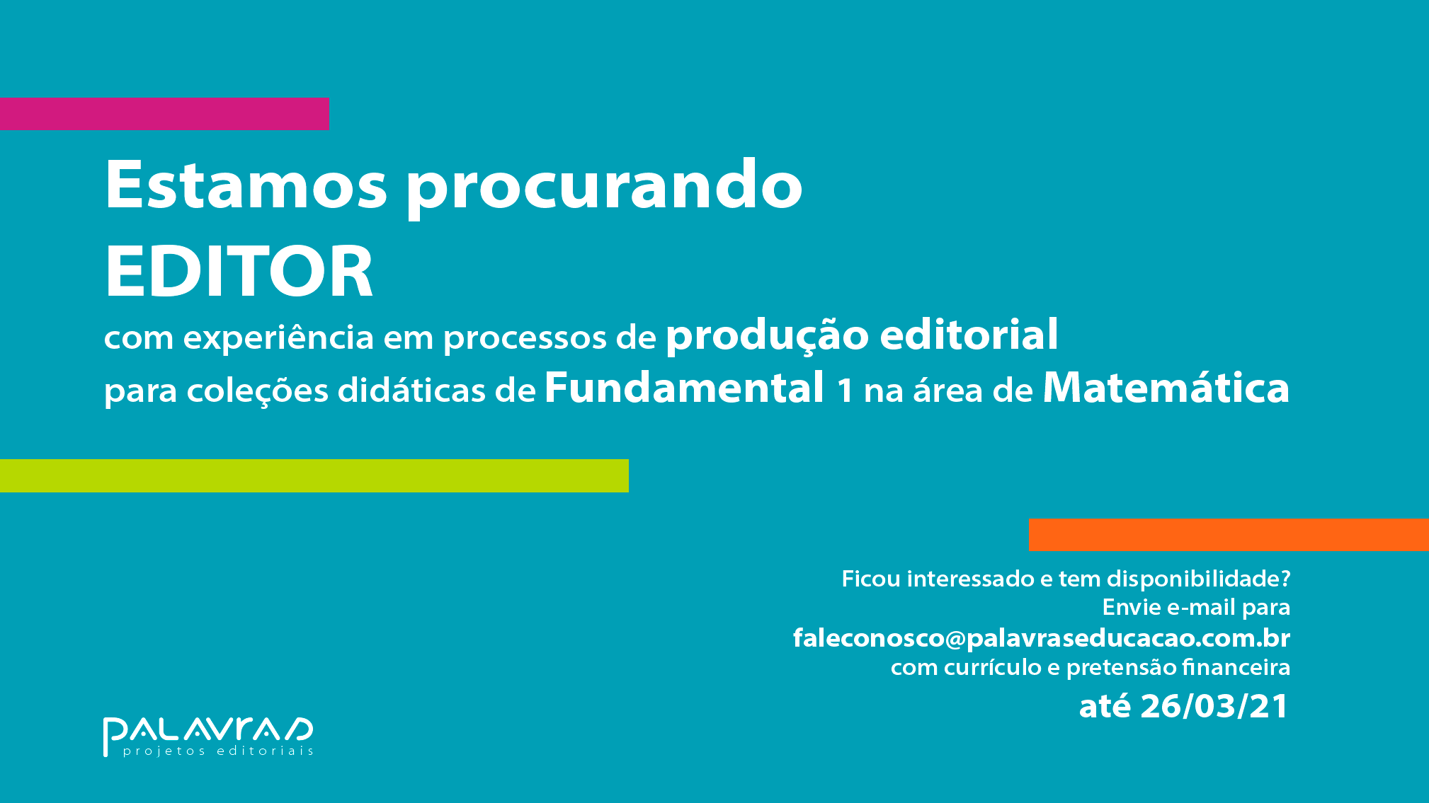 Procuramos editor de Matemática para Fundamental 1